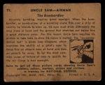 1941 Gum Inc. Uncle Sam Home Defense #71   The Bombardier Back Thumbnail