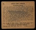 1941 Gum Inc. Uncle Sam Home Defense #43   Formation Flying Back Thumbnail