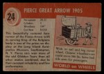 1954 Topps World on Wheels #24   Pierce Great Arrow 1905 Back Thumbnail
