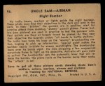 1941 Gum Inc. Uncle Sam Home Defense #96   Night Bomber Back Thumbnail
