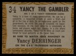 1958 Topps TV Westerns #34   Yancy the Gambler  Back Thumbnail