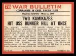 1965 Philadelphia War Bulletin #78   Kamikaze! Back Thumbnail