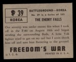 1950 Topps Freedoms War #39   The Enemy Falls   Back Thumbnail