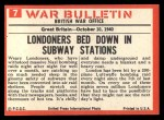 1965 Philadelphia War Bulletin #7   London Blitz Back Thumbnail