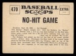 1961 Nu-Card Scoops #470   Sal Maglie   Back Thumbnail