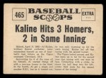 1961 Nu-Card Scoops #465   Al Kaline   Back Thumbnail