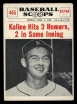 1961 Nu-Card Scoops #465   Al Kaline   Front Thumbnail
