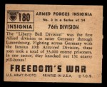 1950 Topps Freedoms War #180   76th Division  Back Thumbnail