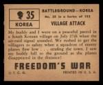 1950 Topps Freedoms War #35   Village Attack   Back Thumbnail