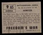 1950 Topps Freedoms War #65   Howitzer   Back Thumbnail
