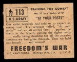 1950 Topps Freedoms War #113   At Your Posts  Back Thumbnail