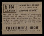 1950 Topps Freedoms War #104   Airborne Infantry  Back Thumbnail