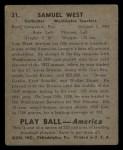 1939 Play Ball #31  Sammy West  Back Thumbnail