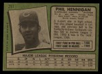 1971 Topps #211  Phil Hennigan  Back Thumbnail