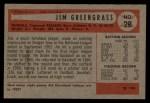 1954 Bowman #28 COR Jim Greengrass  Back Thumbnail