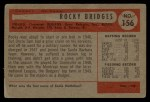 1954 Bowman #156 ALL Rocky Bridges  Back Thumbnail