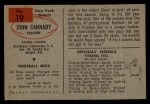 1954 Bowman #19  John Cannady  Back Thumbnail