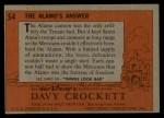 1956 Topps Davy Crockett #54 ORG  The Alamo's Answer  Back Thumbnail