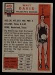 1957 Topps #49  Walter Davis  Back Thumbnail
