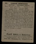 1939 Play Ball #84  Skeeter Newsome  Back Thumbnail