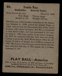 1939 Play Ball #80  Pete Fox  Back Thumbnail