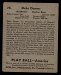 1939 Play Ball #72  Debs Gams  Back Thumbnail