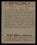 1939 Play Ball #47  Buddy Lewis  Back Thumbnail