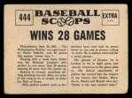 1961 Nu-Card Scoops #444   Robin Roberts   Back Thumbnail