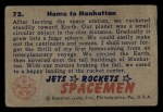1951 Bowman Jets Rockets and Spacemen #72   Home to Manhattan Back Thumbnail
