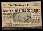 1954 Topps Scoop #67   Korea Truce Signed  Back Thumbnail
