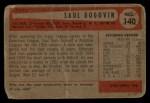 1954 Bowman #140 COR Saul Rogovin  Back Thumbnail