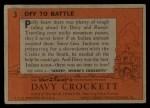 1956 Topps Davy Crockett #3 ORG  Off to Battle Back Thumbnail