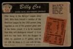 1955 Bowman #56  Billy Cox  Back Thumbnail