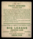 1933 Goudey #224  Frank Demaree  Back Thumbnail