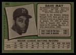 1971 Topps #493  Dave May  Back Thumbnail