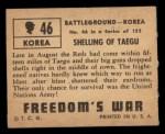 1950 Topps Freedoms War #46   Shelling of Taegu   Back Thumbnail