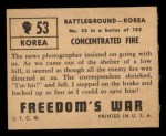 1950 Topps Freedoms War #53   Concentrated Fire   Back Thumbnail
