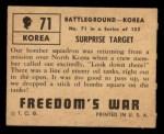 1950 Topps Freedoms War #71   Surprise Target   Back Thumbnail