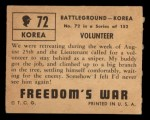 1950 Topps Freedoms War #72   Volunteer   Back Thumbnail