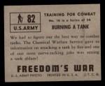 1950 Topps Freedoms War #82   Burning Tank   Back Thumbnail