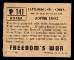 1950 Topps Freedoms War #141   Moving Tanks  Back Thumbnail