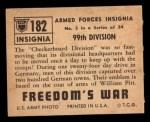 1950 Topps Freedoms War #182   99th Division  Back Thumbnail