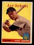 1958 Topps #58 ^WT^ Art Schult  Front Thumbnail