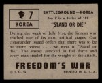 1950 Topps Freedoms War #7   Stand Or Die   Back Thumbnail