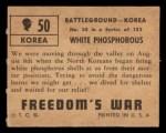 1950 Topps Freedoms War #50   White Phosphorous   Back Thumbnail