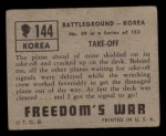1950 Topps Freedoms War #144   Take Off  Back Thumbnail