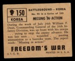 1950 Topps Freedoms War #150   Missing in Action  Back Thumbnail