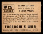 1950 Topps Freedoms War #127   V-E Day Parade  Back Thumbnail