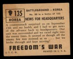 1950 Topps Freedoms War #135   News for Headquarters  Back Thumbnail