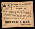 1950 Topps Freedoms War #173   Hospital Ship  Back Thumbnail